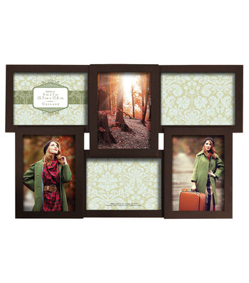 Dimensional Collage Wall Frame with 6 Openings 5''x7''-Walnut