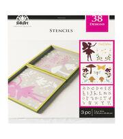 FolkArt 7''x10'' Stencils Value Pack-Fairy Garden, , hi-res