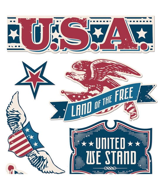 VINTAGE PATRIOTIC WORDS Sticko Stickers UNITED STATES USA FLAGS EAGLE STARS