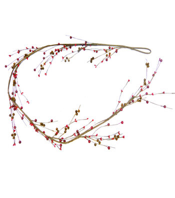 Blooming Holiday Christmas 3''x66'' Red Berry & Rusted Bell Garland