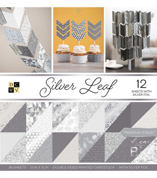 Park Lane Pack of 12 12''x12'' Premium Printed Cardstock Stack-Silver Leaf