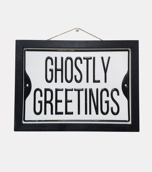 Maker's Halloween 13.38''x9.88'' Wall Decor-Ghostly Greetings