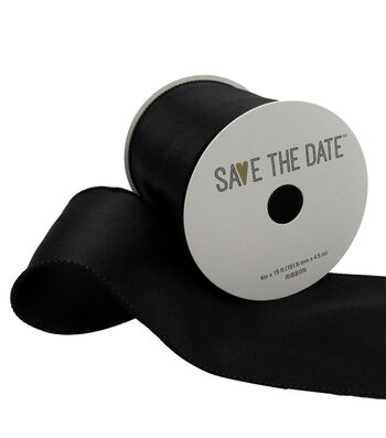 "Save the Date 4"" x 15ft Ribbon-Black Satin"