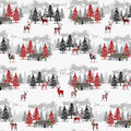 Christmas Cotton Fabric-Plaid Deer Lodge Forest