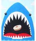No Sew Fleece Throw 48\u0022-Shark Eating Donut Panel