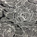 Knit Prints Rayon Spandex Fabric-Black White Big Floral