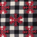 Christmas Anti-Pill Plush Fleece Fabric-Red Snowflakes on Buffalo Checks