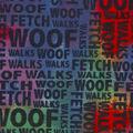 Snuggle Flannel Fabric -Dog Words Tie Dye