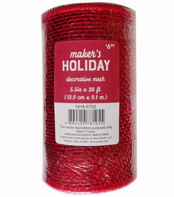 Maker's Holiday Christmas Metallic Decorative Mesh Ribbon 5.5''x30'-Red