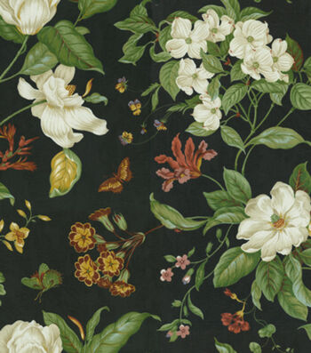 "Waverly Upholstery Fabric 54""-Garden Images Black"