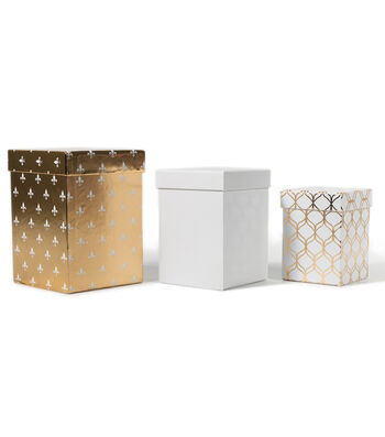 DCWV Square Nested Box Set: Gold and White
