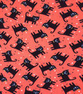 Halloween Cotton Interlock Fabric 57\u0022-Staring Cats