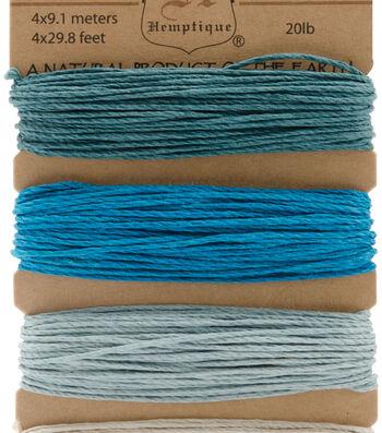 Hemptique #20 120' Hemp Cord Card-Aquamarine