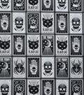 Halloween Cotton Fabric 43\u0022-Black Magic Cards Glow