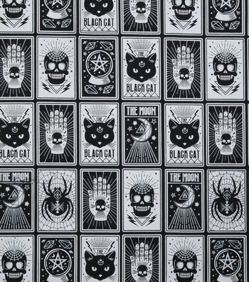 "Halloween Cotton Fabric 43""-Black Magic Cards Glow"