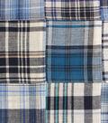 Shirting Fabric 43\u0022-Blue Plaid Patchwork