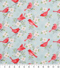 Novelty Cotton Fabric 43\u0022-Birds On Cherry Blossoms