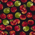 Novelty Cotton Fabric-Red & Green Apples on Black
