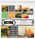 Reminisce Collection Kit 12\u0022X12\u0022-Italia, 8 Papers & 1 Stickers Sheet