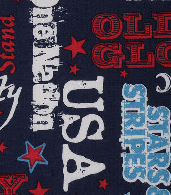 Patriotic Cotton Fabric 43''-Old Glory on Blue