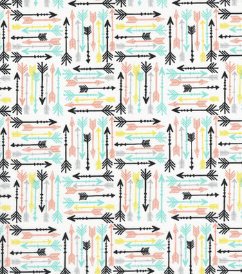Quilter's Showcase Cotton Fabric -Pastel Arrows on White