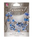 Jewelry Basics Bead Strands-Fancy Round Mix Blue 8\u0022