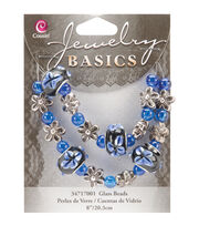 "Jewelry Basics Bead Strands-Fancy Round Mix Blue 8"", , hi-res"
