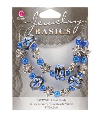 "Jewelry Basics Bead Strands-Fancy Round Mix Blue 8"""