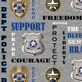 Police Department Fleece Fabric-Heather Verbiage