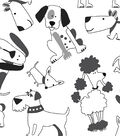 Snuggle Flannel Fabric 43\u0022-Black And White Pups