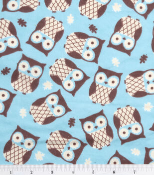 Snuggle Flannel Fabric -Owls on Turquoise