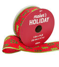 Maker\u0027s Holiday Christmas Ribbon 1.5\u0027\u0027x30\u0027-Glitter Trees on Red