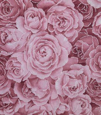 "Premium Cotton Fabric 43""-Tonal Burgundy Rose Metallic"