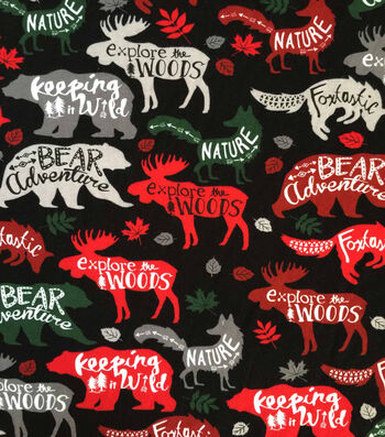 "Doodles Christmas Cotton Fabric 57""-Woodland Animals On Black"