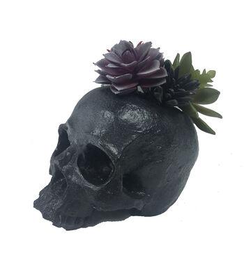 Maker's Halloween Black Skull with Succulent