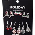 hildie & jo Holiday Earrings-White Reindeer & Peppermint