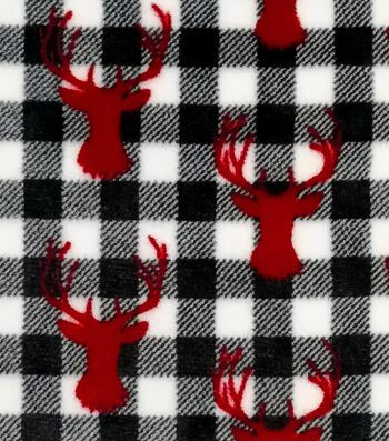 Sew Lush Fleece Fabric-Red Stags on Black & White Buffalo Checks