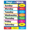 Days of the Week Stars Learning Chart 17\u0022x22\u0022 6pk
