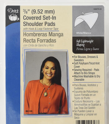 """Dritz 0.38"""" Covered Set In Shoulder Pads White"""