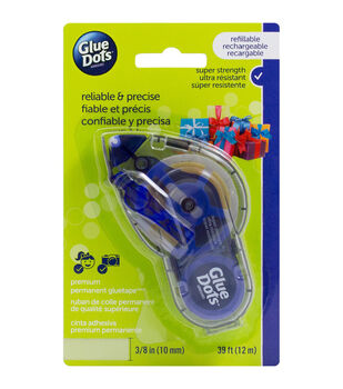 Glue Dots 0.38''x39' Premium Permanent Glue Tape with Runner