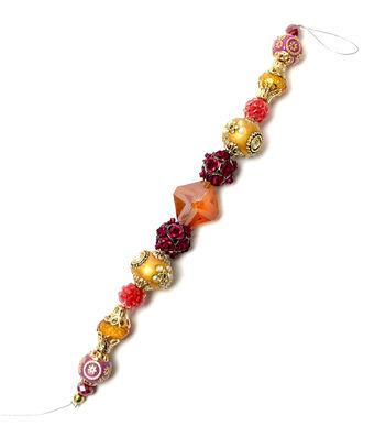 """Jesse James 7"""" Strung Beads-Hindu Glass & Metal Rose Beads"""