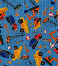 Novelty Cotton Fabric-Construction Tossed on Blue