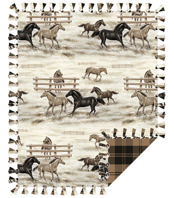 "Fleece No Sew Throw 72""-Horses and Fences"