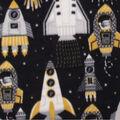 Anti-Pill Plush Fleece Fabric-Spaceships Yellow Black Gray
