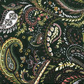 Knit Prints Double Brushed Fabric-Dark Green Paisley