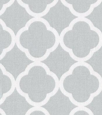 "Keepsake Calico Cotton Fabric 44""-Quatrefoil Gray&White"