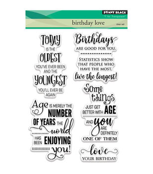 Penny Black 4 pk Clear Stamps-Birthday Love