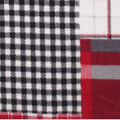 Anti-Pill Plush Fleece Fabric-Black White Red Madras Plaid