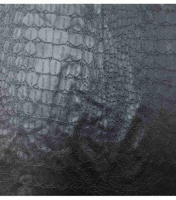 Stretch Black Croc Foil Jersey Faux Leat