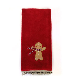 Handmade Holiday Christmas 16''x26'' Cotton Towel-Gingerbread Man